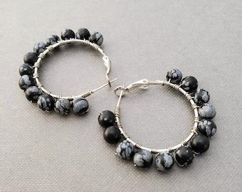 Black Beaded Hoop Earrings, Boho Hoop Earrings, Silver Hoop Earrings, Large Statement Earrings, Birthday Gift for Her, Jewelry for Women