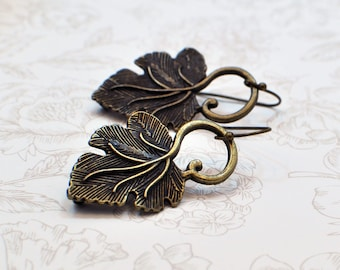 Long Leaf Earrings, Fall Jewelry, Bronze Earrings, Statement Earrings, Long Dangle Earrings, Leaf Jewelry, Gift for Women, Nature Jewelry