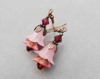 Long Pink Lucite Drop Earrings, Handmade Floral Earrings for Women, Unique Gift for Her, Pretty Statement Jewellery, Maid of Honor Gift