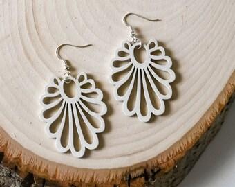 Natural Wood Wooden Earrings, Jewellery for Women, Boho Jewelry for Bride, Boho Earrings, White Dangle Earrings, Unique Gift for Her