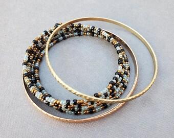 Stacking Bracelet Set, Memory Wire Bracelet, Bangle Gift Set for Her, Layering Bracelets, Bangle Bracelet Set, Beaded Bracelet