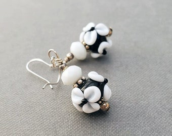 Black and White Dangle Earrings, Floral Dangle Earrings, Floral Gifts for Her, Handmade Lampwork Earrings for Women, Sterling Silver Jewelry