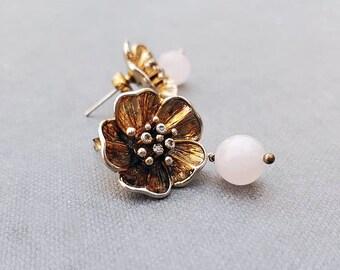 Rose Quartz Flower Earrings, Gold Wedding Earrings, Bridal Jewelry, Unique Jewelry for Women, Statement Earrings, Large Rose Stud Earrings