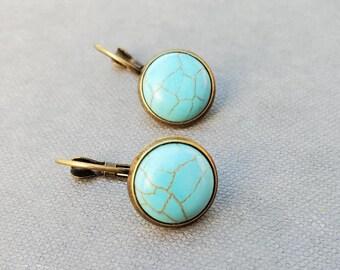 Turquoise Drop Earrings, Turquoise Jewelry, Blue Dangle Earrings, December Birthstone Earrings, Simple Boho Earrings, Southwestern Jewelry