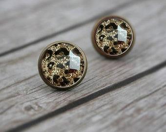 Gold Leopard Stud Earrings, Post Earrings for Women, 12mm Stud Earrings, Resin Jewelry, Animal Lover Gift, Leopard Print Accessories