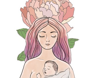 Skin to Skin Mother Baby Botanical Art Illustration Print - art print of original illustration, nature, botanical, motherhood, mama