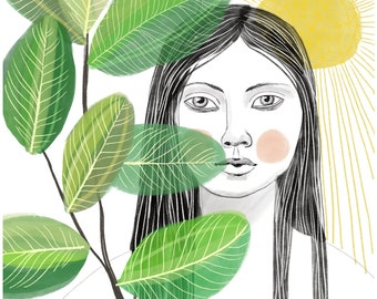 Through The Leaves - art print of original illustration