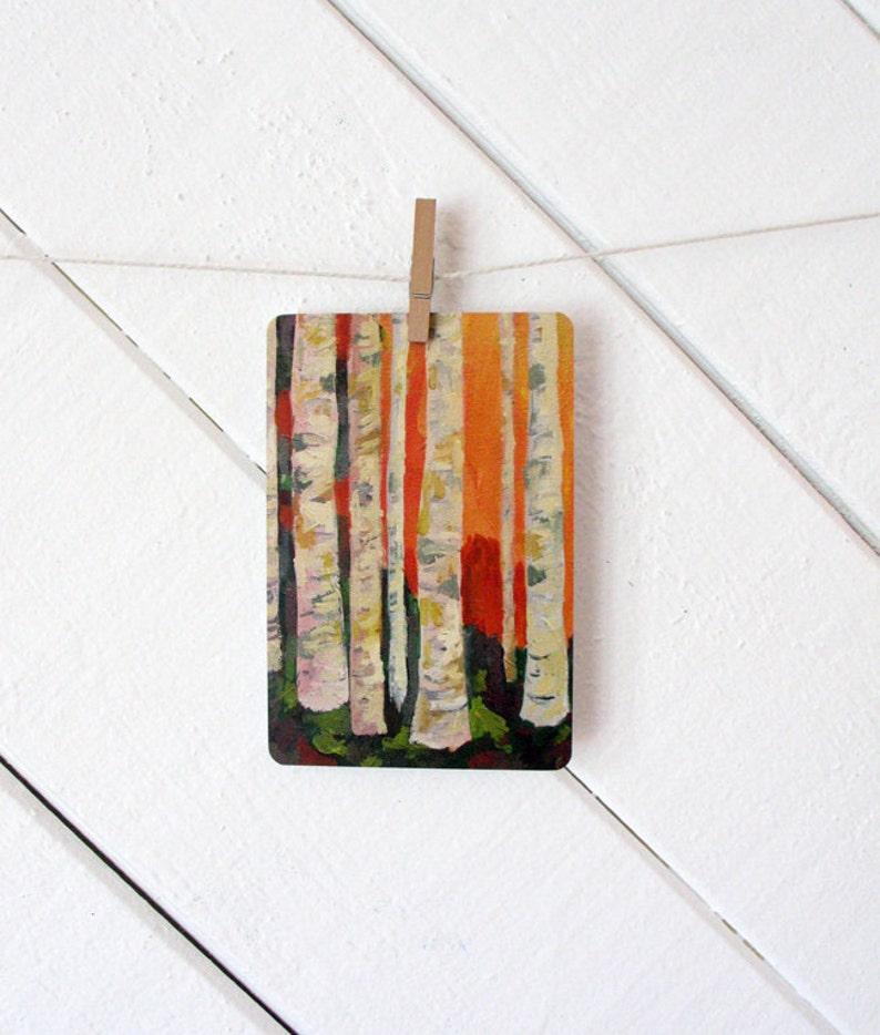 Stationary / Postcard / Blank Card  Birch Trees Art Postcard image 0