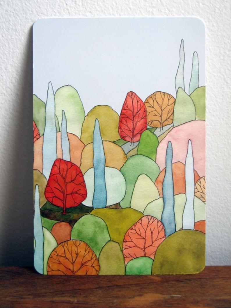 Lovely Landscape Art Postcard  based on original watercolor image 0