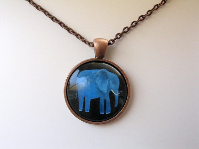 Blue Elephant  mini print necklace pendant and chain copper image 0