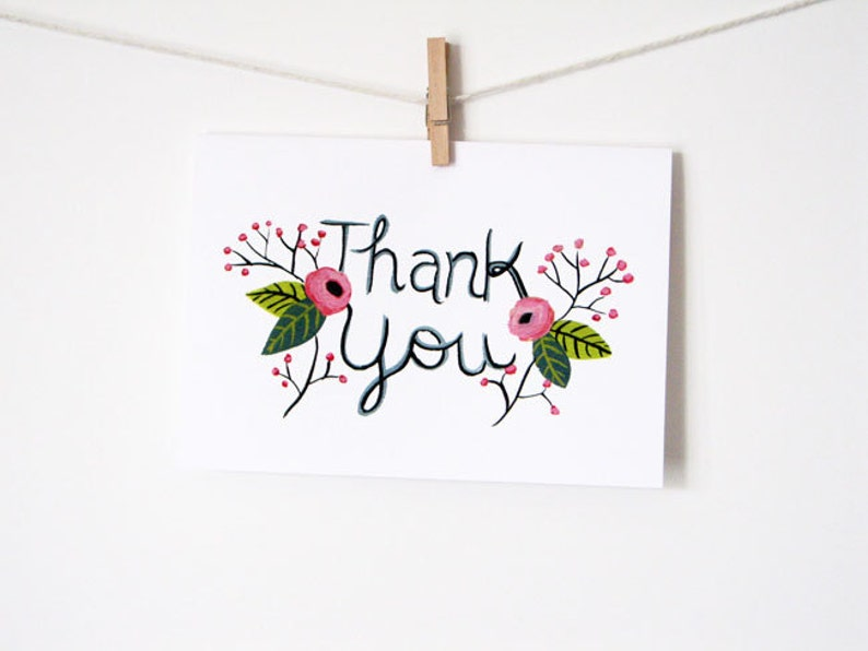Thank You Printable Greeting Card  Instant Download  PDF image 0