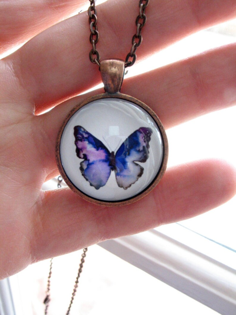 Blue Violet Butterfly  mini print necklace pendant and chain image 0
