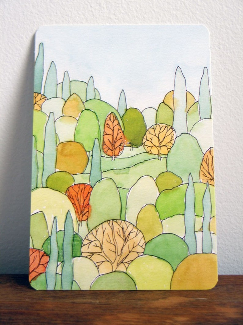 Perfect Landscape Art Postcard of watercolor painting image 0