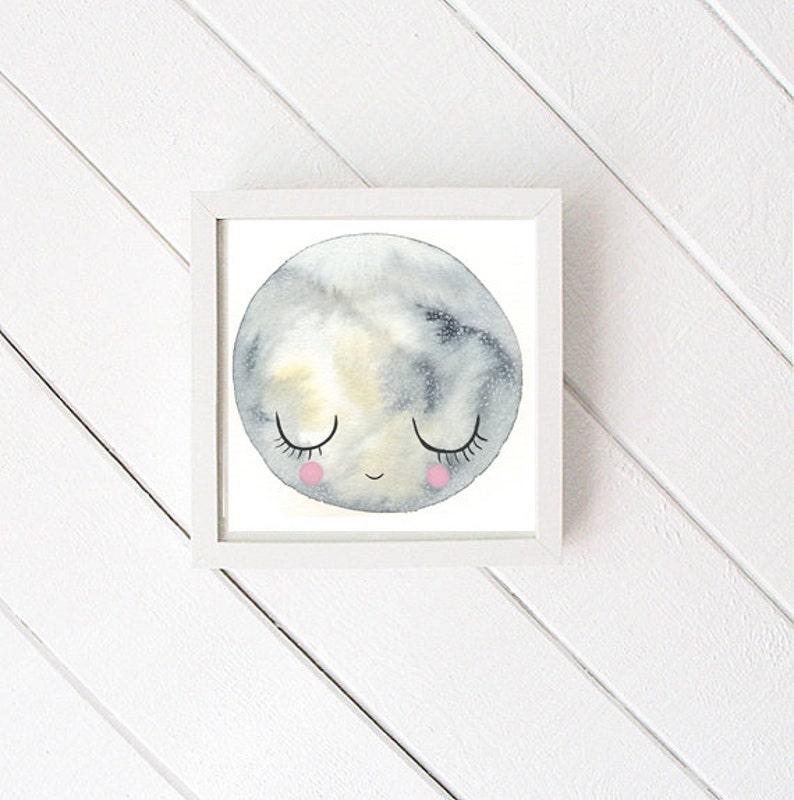 Moon Art Print  print of original watercolor  nursery art  image 0