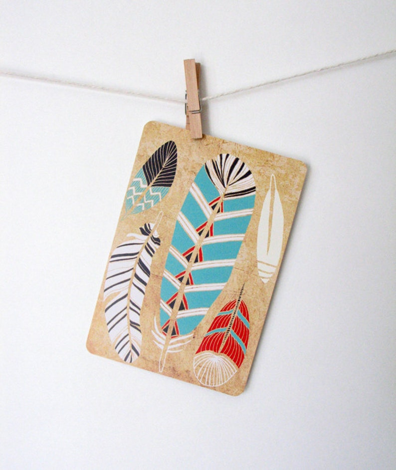 Tribal Feathers Art Postcard image 0