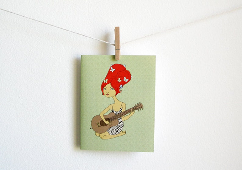 Guitar Girl with butterflies  Greeting Card  blank inside image 0