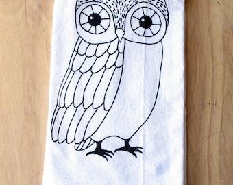 Owl Tea Towel - Silkscreened - 100% Cotton - Flour Sack Tea Towel