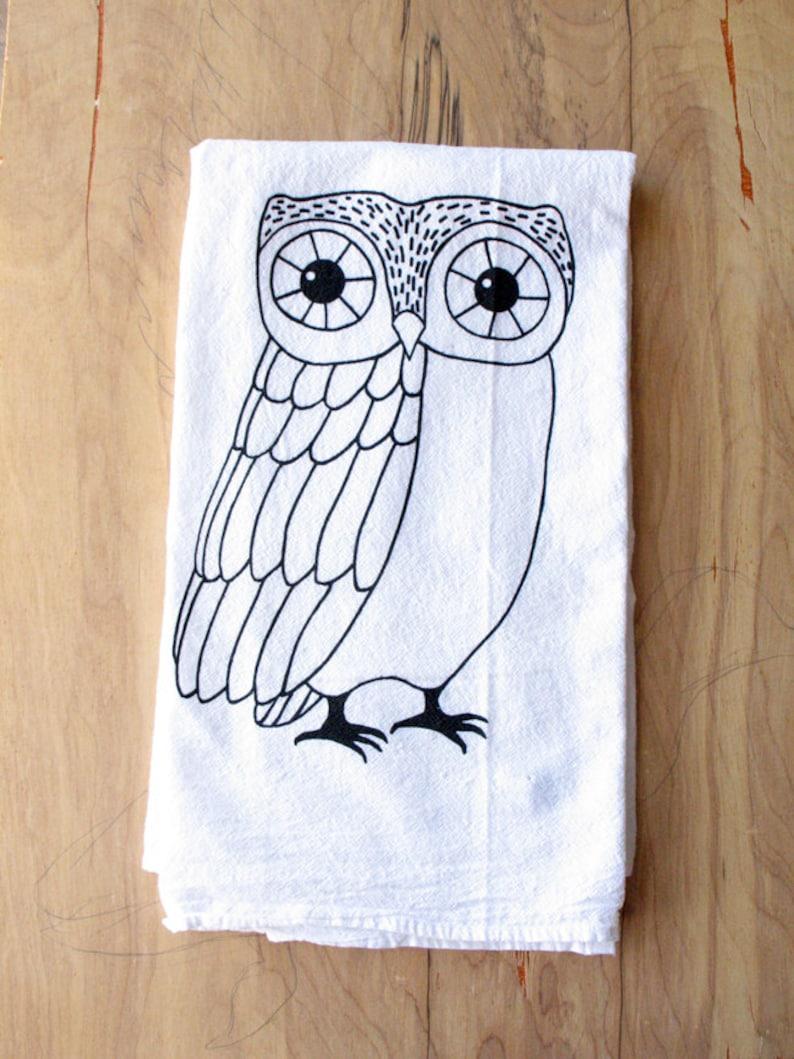 Owl Tea Towel  Silkscreened  100% Cotton  Flour Sack Tea image 0