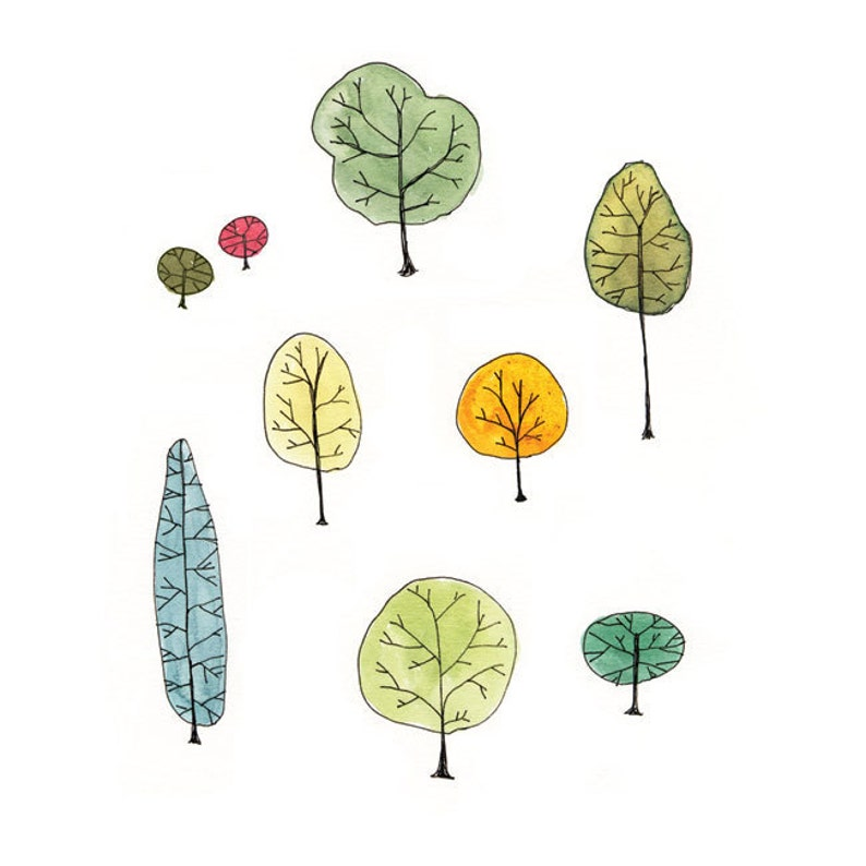 Watercolor Painting  Tree Family Art Print  trees nature image 0