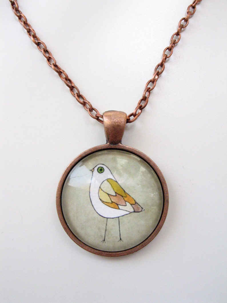 Fall Colors Bird  mini print necklace pendant and chain image 0