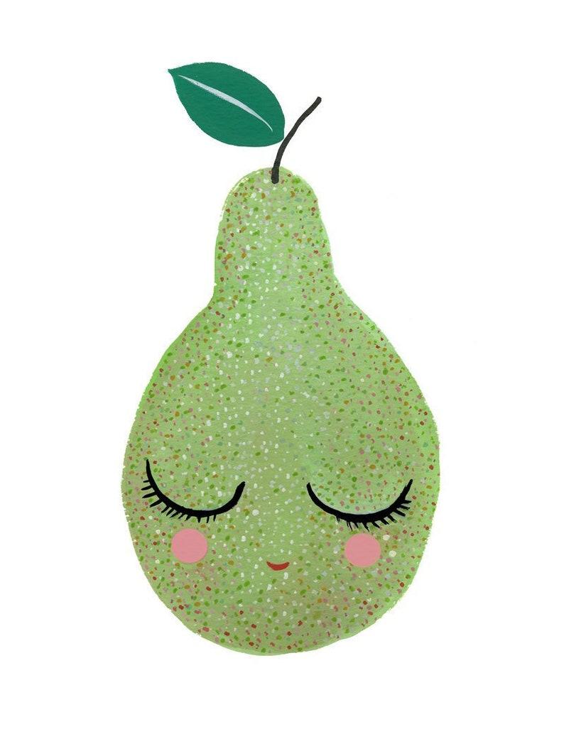 Sweet Green Pear Painting  watercolor gouache art print image 0