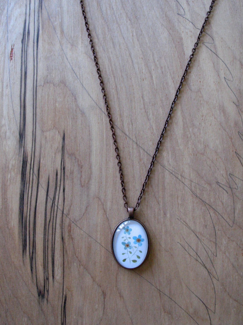 Blue Flowers  mini print necklace oval pendant and chain image 0