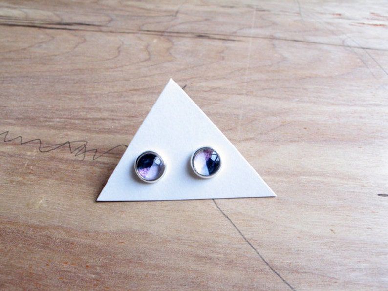 petite Purple Black Geometry earrings studs silver or bronze image 0