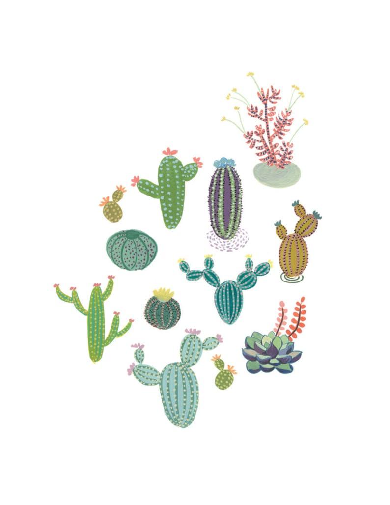 Cactus Family art print  Succulent cacti painting gouache image 0