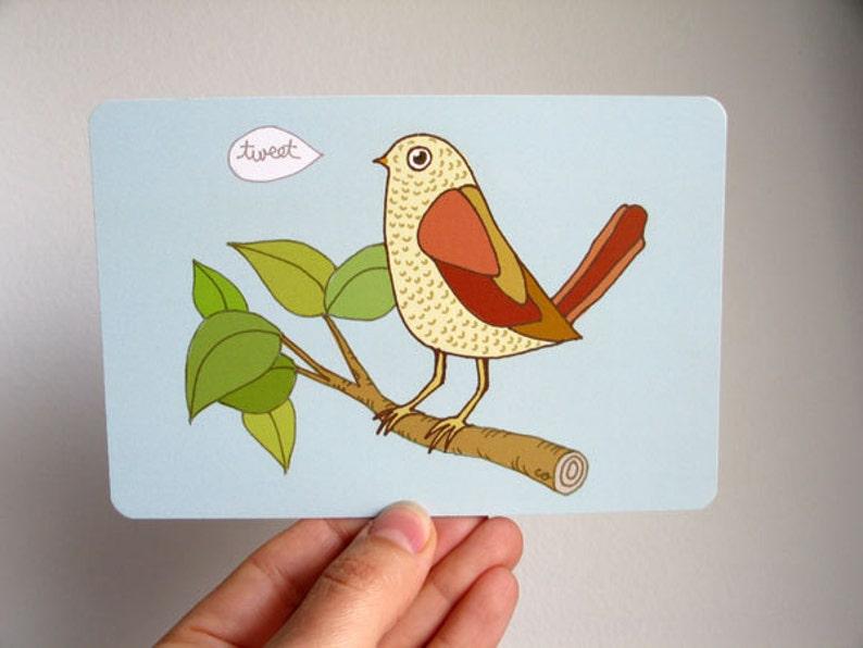 Bird Tweet Art Postcard  based on original drawing image 0