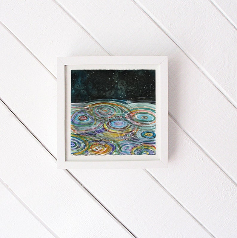 Ripples  original watercolor painting  white frame included image 0