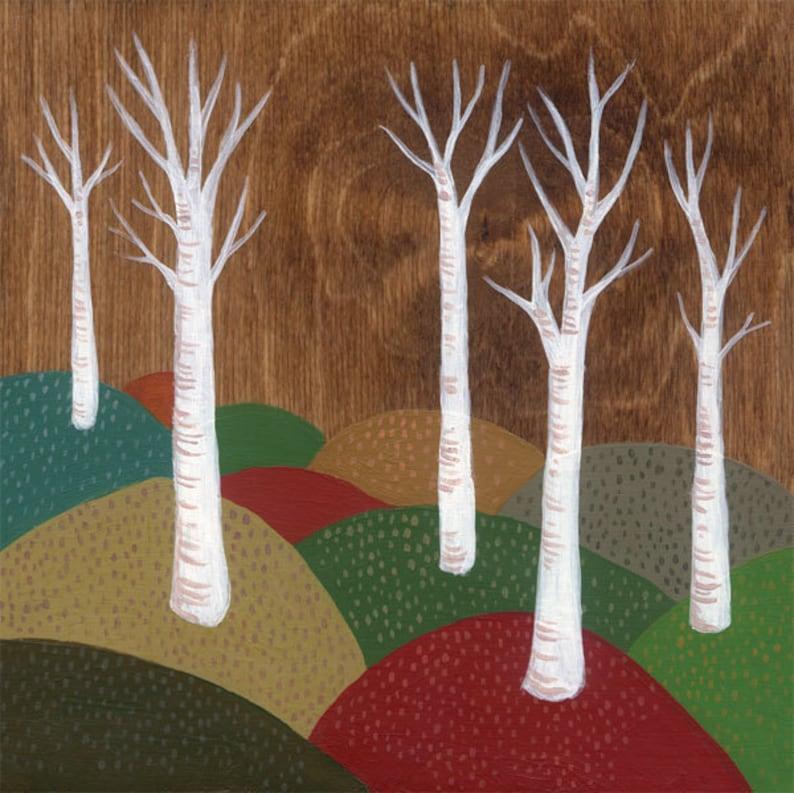 White Trees Landscape  art print 8 x 8 inches image 0