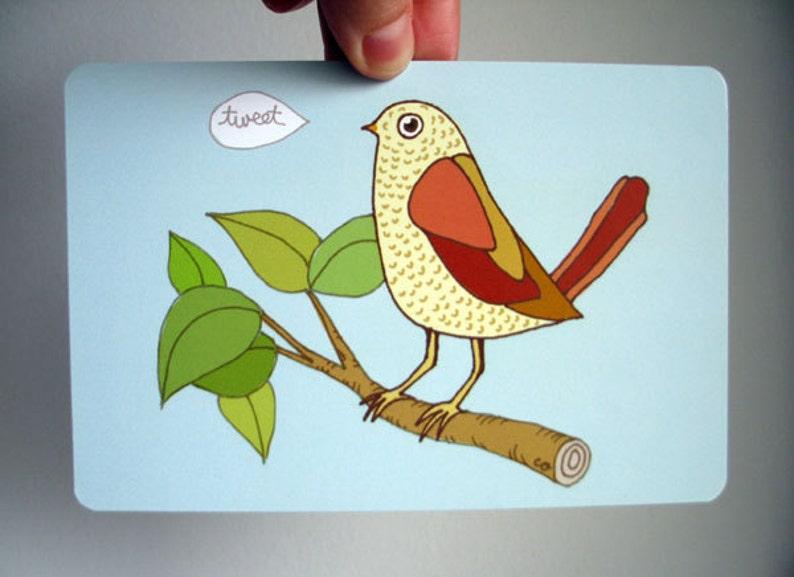 Bird Tweet Art Postcard  from original drawing colored image 0