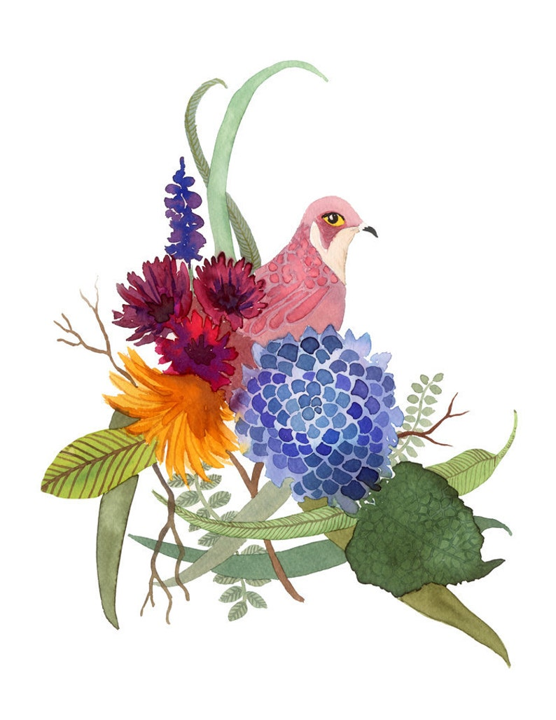 pink bird with flowers watercolor / art print image 0
