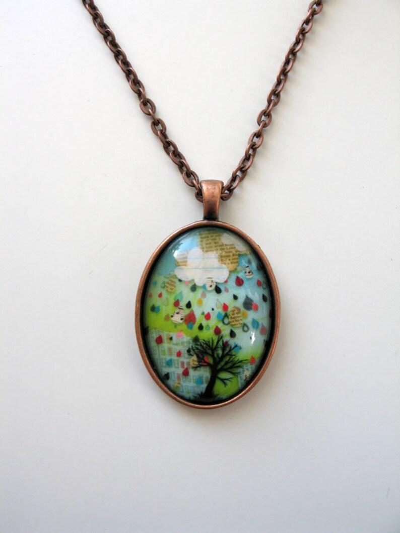 Rain Note  mini print necklace pendant and chain image 0