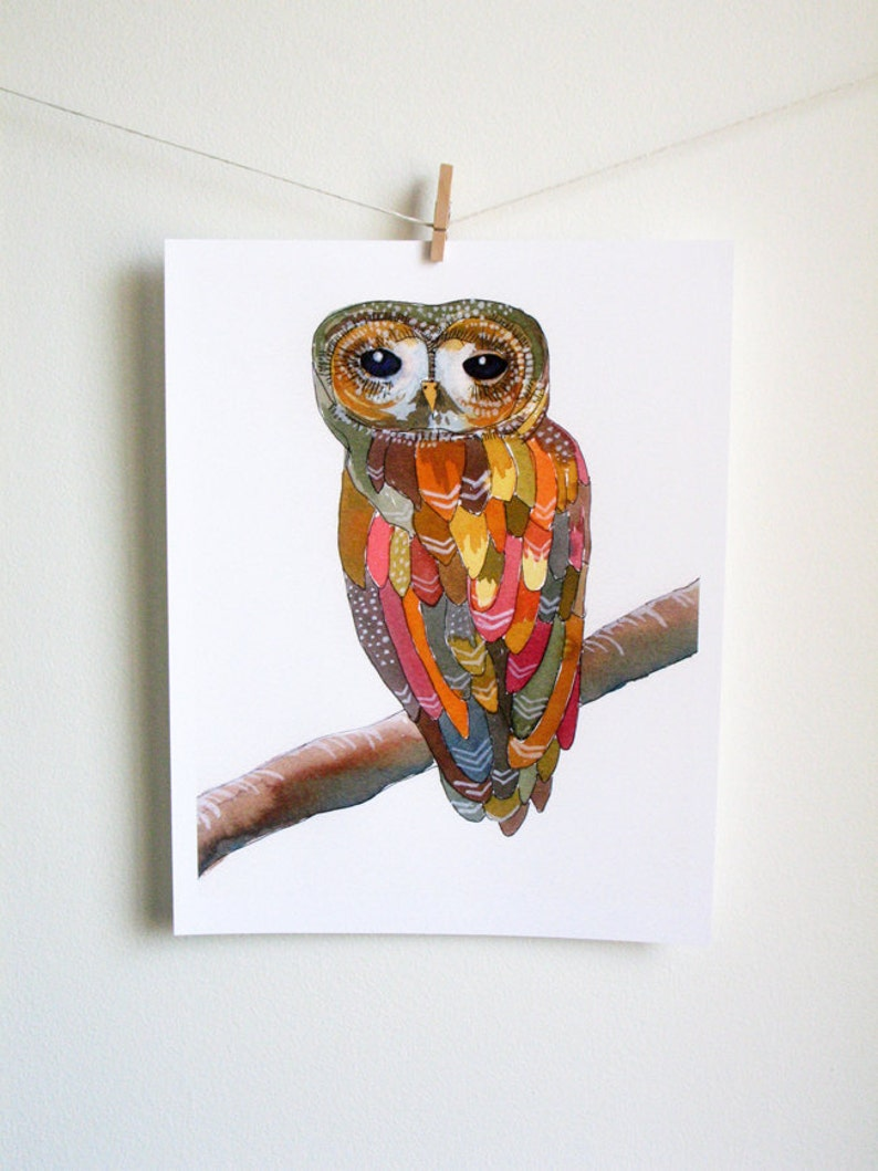 Watercolor Owl Painting  Colorful Owl  art print archival image 0