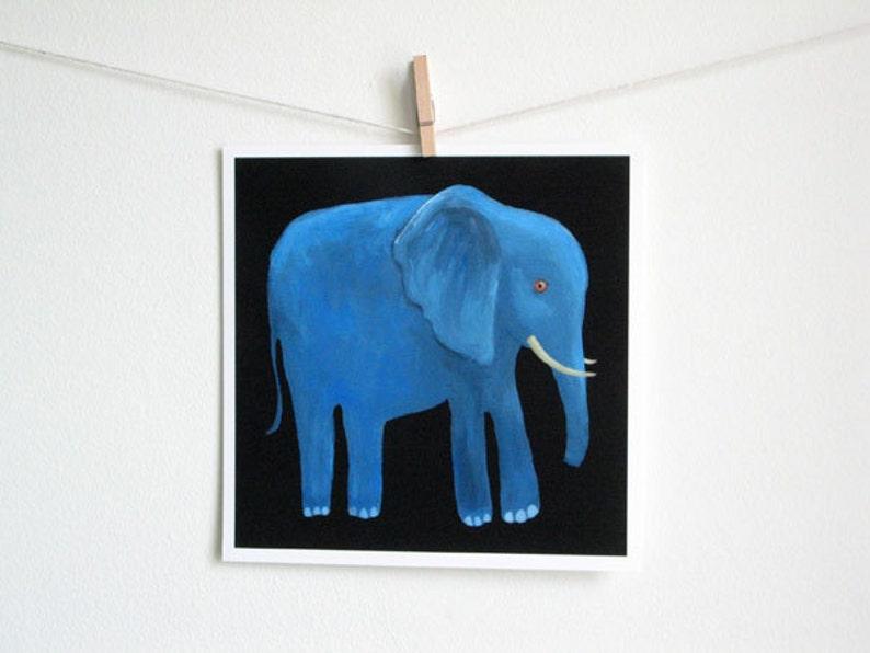 Blue Elephant Art Print  8 x 8 inches / square print image 0