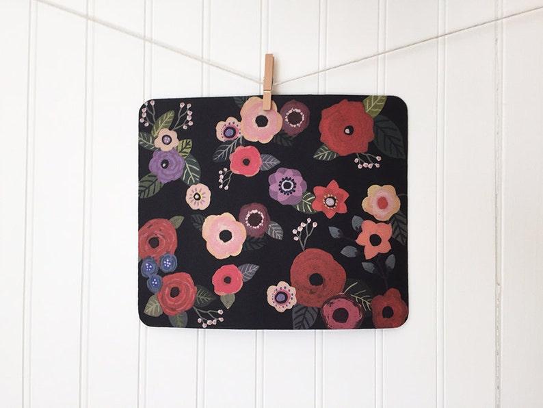mousepad / Mouse Pad / Mat  Darling Gouache Flowers on Black image 0