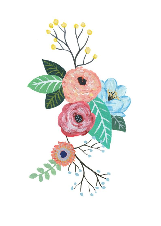 Gouache Flowers Watercolor Painting Art Print decor nature image 0