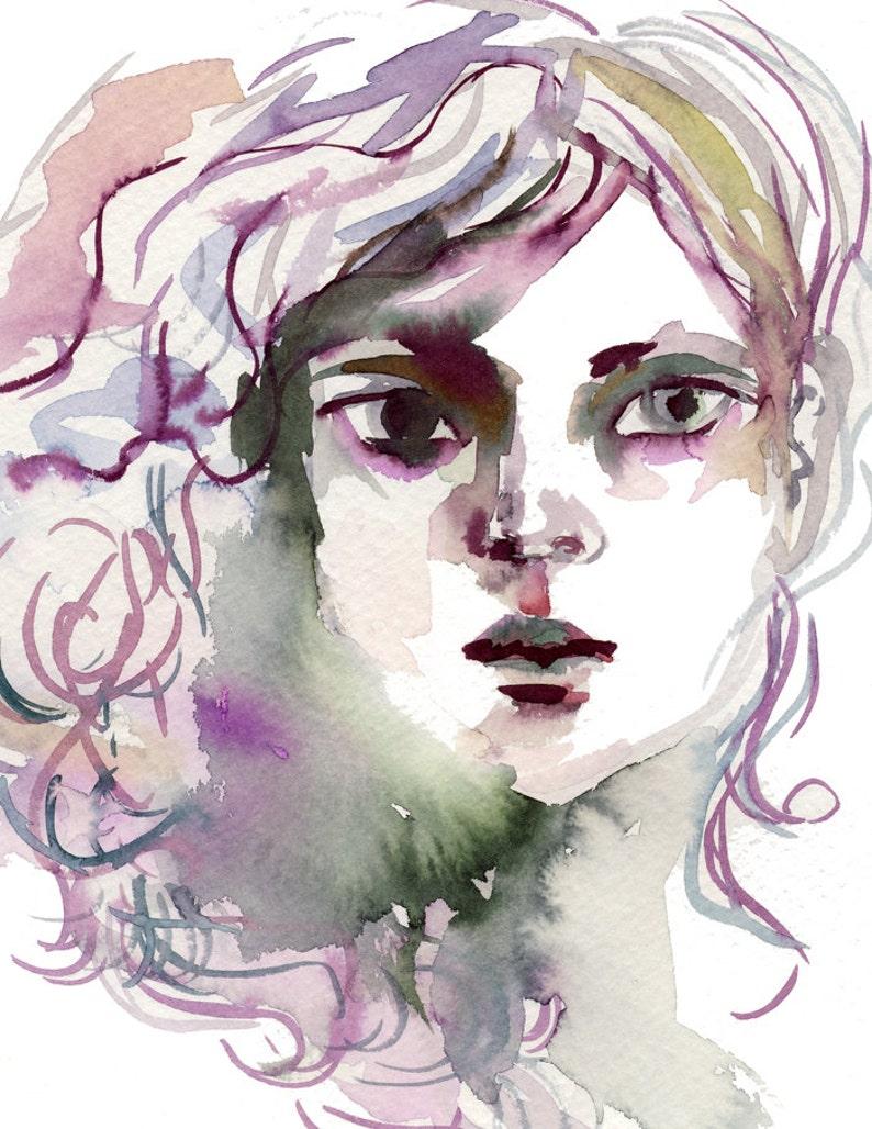 Aurora Watercolor art print  archival fine art image 0