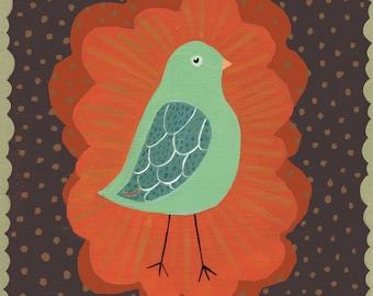 Little Mint Green Bird Art Print - on brown
