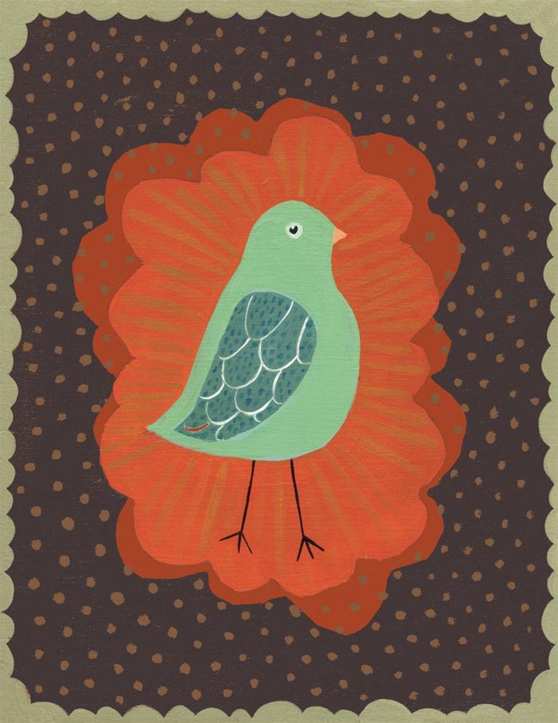 Little Mint Green Bird Art Print  on brown image 0