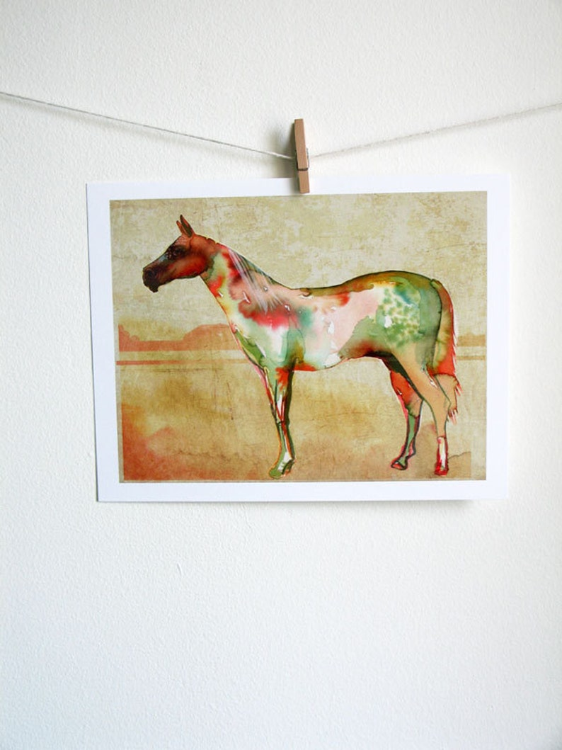 Watercolor Horse Art Print  watercolor painting nature image 0