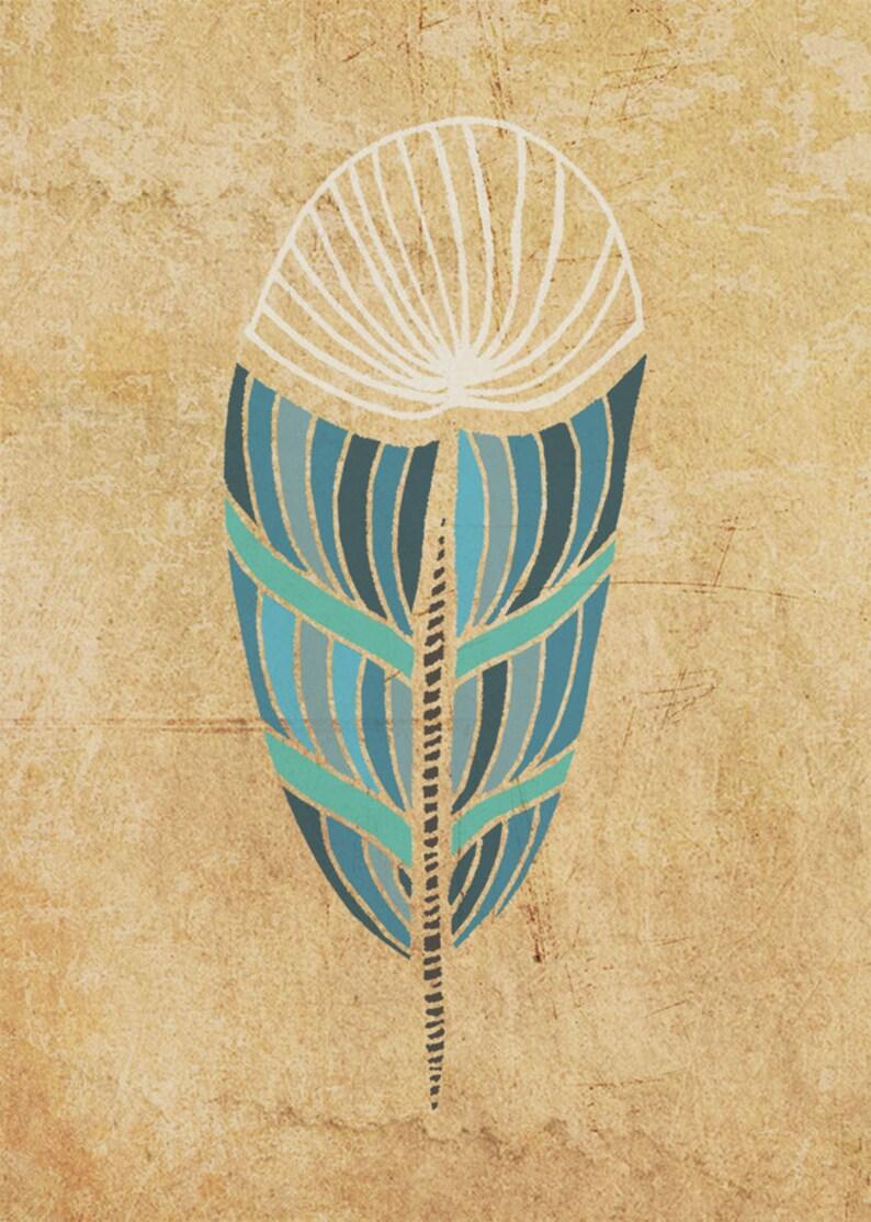 Blue Feather Art Print 5 x 7 image 0