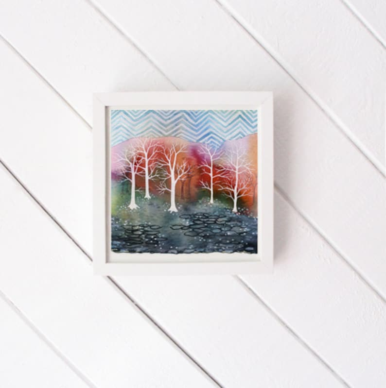 Chevron Sky  original watercolor painting  white frame image 0