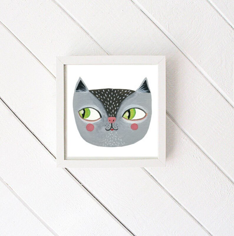 Kitty Cat gouache painting  illustration art print image 0