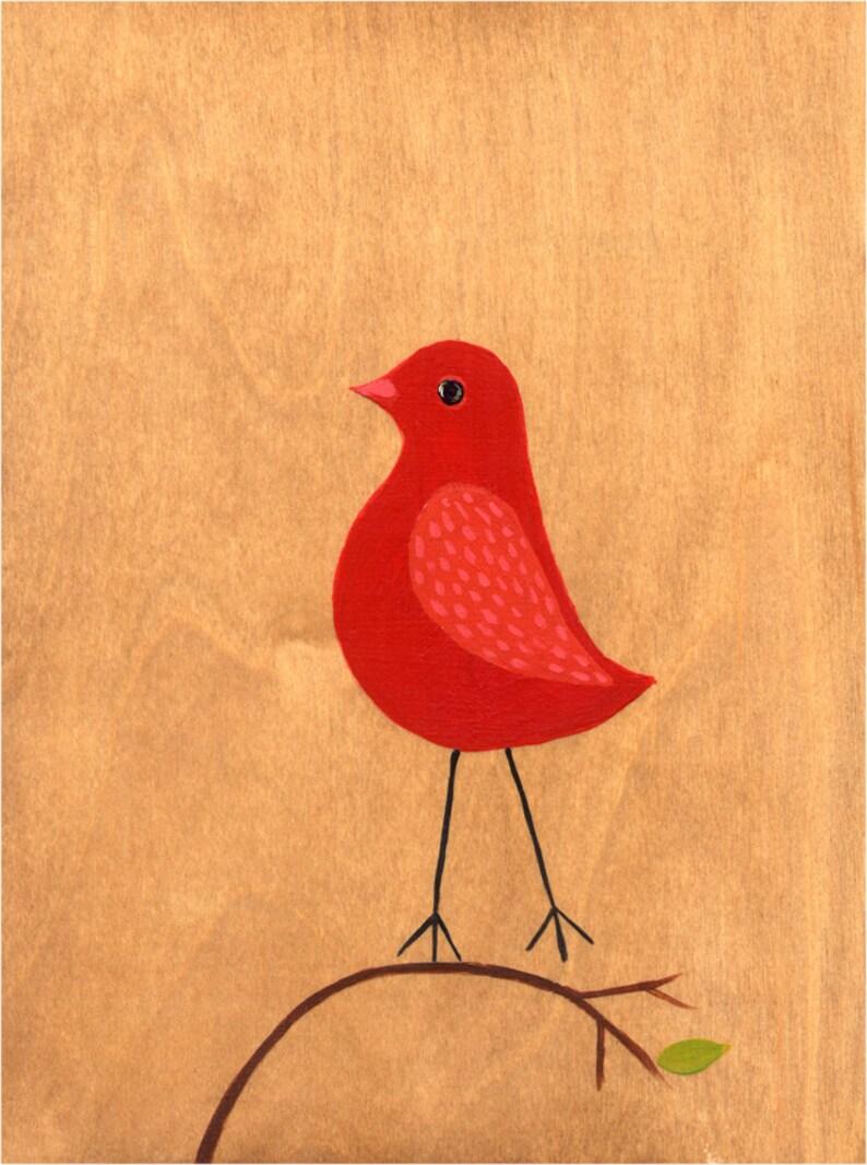 Red Ruby Bird art print  archival fine art print  Nursery image 0