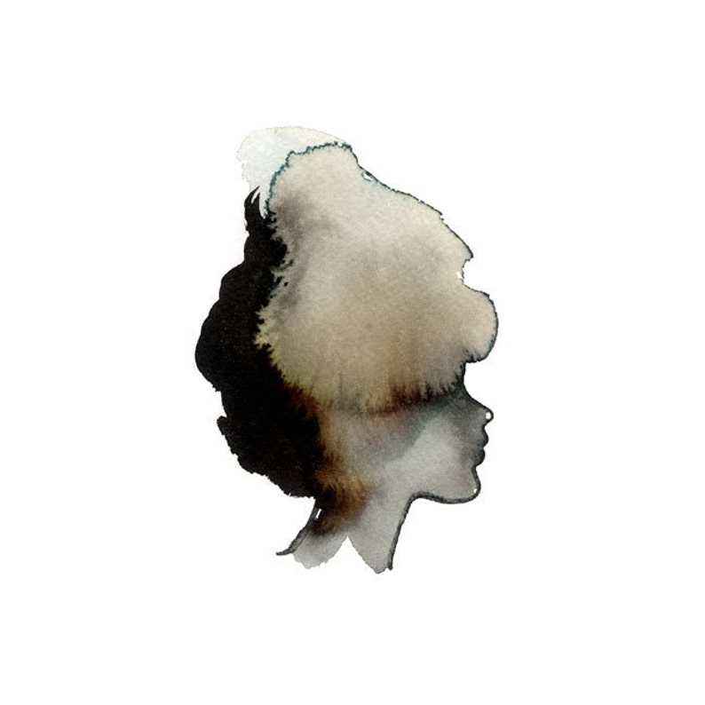 Portrait of a Lady  Fine Art Print  watercolor sillhouette image 0
