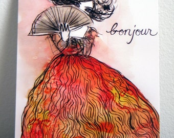 Bonjour Art Postcard