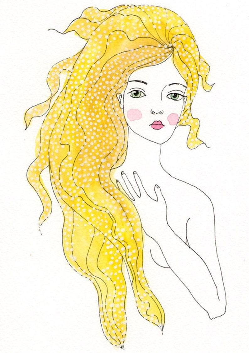 Rebirth of Venus   art print of original watercolor and ink image 0