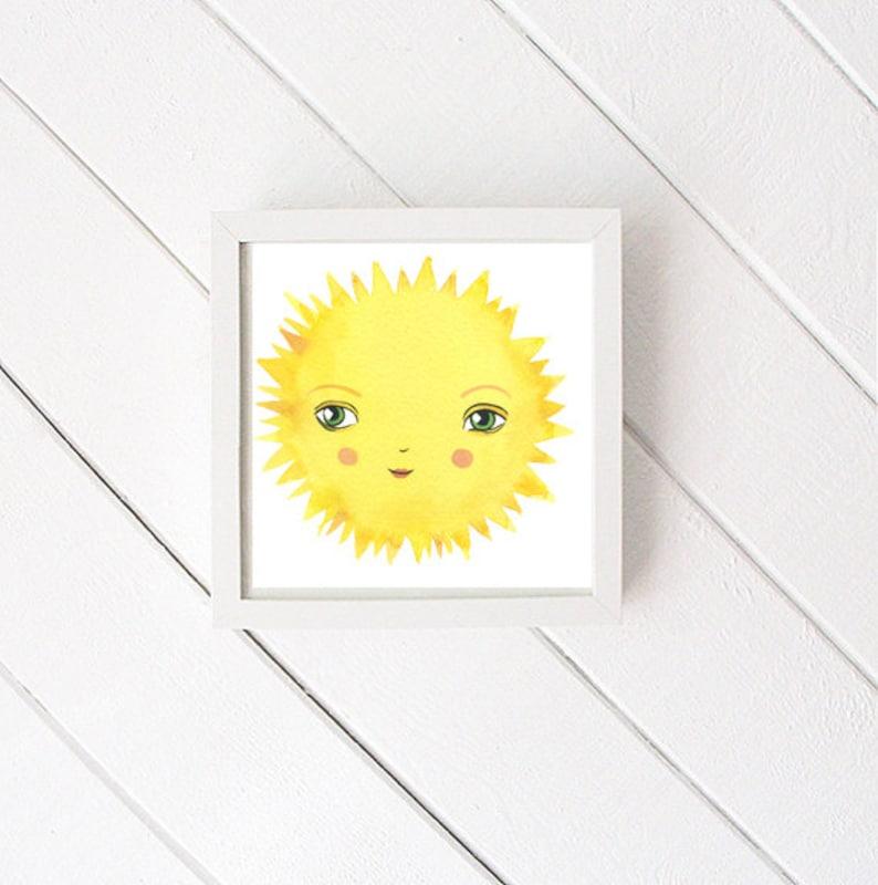 Happy Sun Art Print  print of original watercolor  nursery image 0